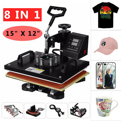 8 in 1 Digital Manual Heat Press Transfer T-Shirt  Sublimation Printer Machine