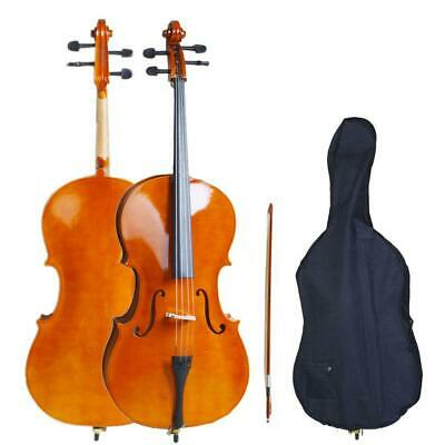 3/4 High Quality Sound Acoustic Cello Bag Bow Rosin Strings Bridge Natural