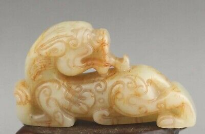 Chinese old natural jade hand-carved statue dragon pendant 2.4 inch