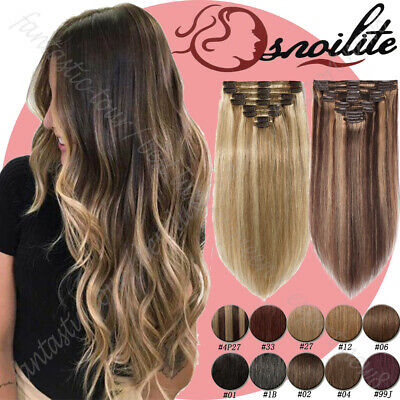 Double Weft Clip In 100%  Remy Human Hair Extensions Full Head Mix Color AU W004