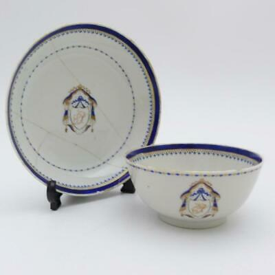 Chinese Export Porcelain Armorial Tea Bowl And Saucer, 18Th Century