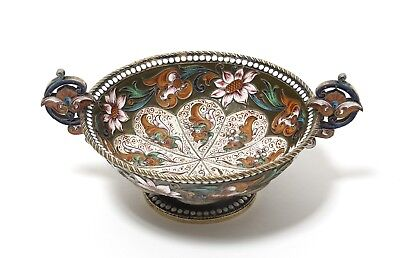 Bowl or vase with handles. Silver, gilding, enamel, filigree. Russian Empire