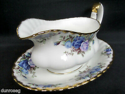 Moonlight Rose Gravy / Sauce Boat & Stand, 1987-2001, England, Royal Albert