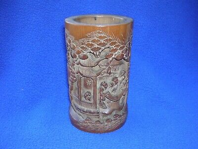 """Antique Hand Carved Asian Bamboo Brush Pot 5 1/2"""" Tall Wooden Figures"""