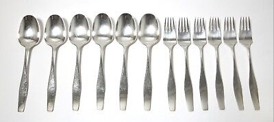 Small SILVER dining spoons and forks for 6 persons, 12 items. Denmark.