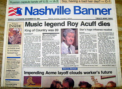 Best 1992 Nashville TENNESSEE hdln newspaper COUNTRY MUSIC singer ROY ACUFF DEAD