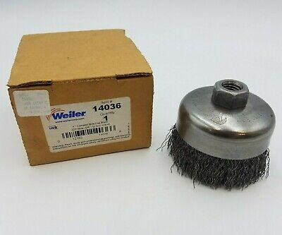 "Weiler 14036 4"" Crimped Wire Cup Brush .020"" 5/8-11"" Threaded Arbor Metalworking"