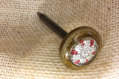 old Picture hanger nail clear 6 petal flower glass decorated vintage 1800's