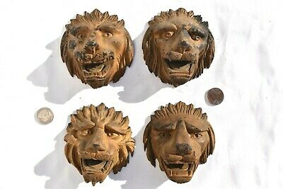 4 Antique Primitive Early Hand Carved Wooden Lions Face Wonderful Folk Art