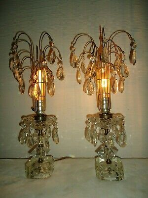 Pair Vintage Art Deco Hand Cut Lead Crystal 19 In Waterfall Boudoir Table Lamps