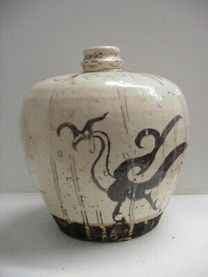 Ancient Chinese Song Dynasty Cizhou Iron Glaze Vase / Pot 1000 Years Old Painted
