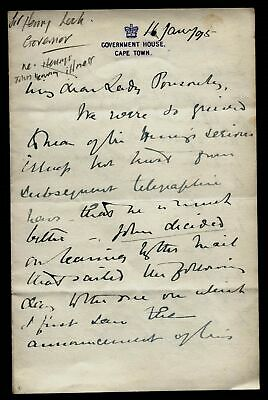 1895 Sir Henry Loch, Governor of the Cape, letter to Mary Ponsonby, re Sir Henry