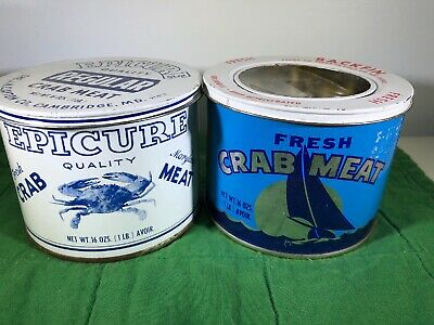 VINTAGE Crab Meat Tin Can Lot of 2 EPICURE & Todd Co. Maryland Chesapeake Bay