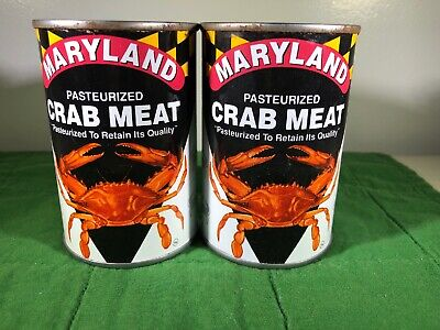 Maryland VANDYKE's Seafood CRAB MEAT CLAW TIN 8 oz. can Lid Blue Crabs Lot of 2