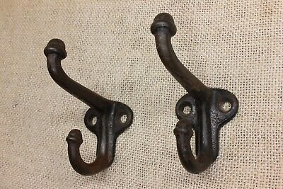 "2 old Coat hooks farm school house cast iron 2 3/4"" vintage 1880's acorn tip"