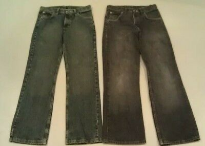 Wrangler Lot 2 Pair Boys Kids Denim Jeans 16 Regular Adjustable Waist Black Blue