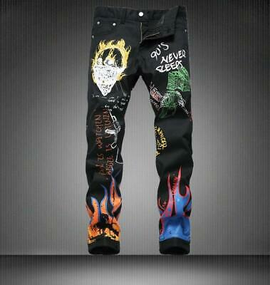 Mens Black Denim Fashion Printed Streetwear Punk Boys Cotton Straight Leg Pants