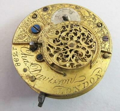 GEORGIAN ANTIQUE FUSEE VERGE POCKET WATCH MOVEMENT by CHA DAVIDSON LONDON  e