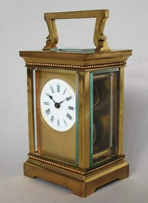 FINE ANTIQUE CARRIAGE CLOCK with MASKED DIAL CASE & KEY