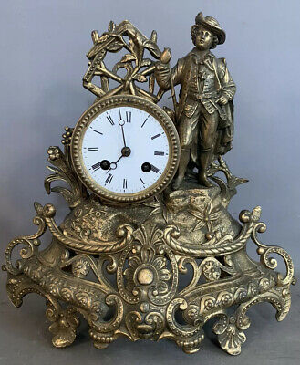 19thC Antique FRENCH VICTORIAN Era JAPY FRERES Figural GENT STATUE MANTEL CLOCK
