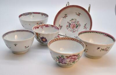 6 PIECES ANTIQUE CHINESE 18thC FAMILLE ROSE BOWLS , DISHES CUP - COLLECTION