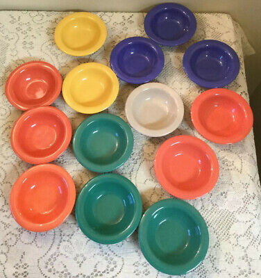 Aladdin Blue Insulated Bowls Plastic Melmac Melamine USA Made Lot of 6 Hospital