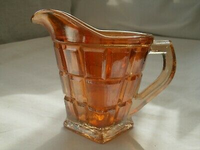 VINTAGE marigold CARNIVAL (orange) GLASS SMALL JUG/creamer block squares VGC