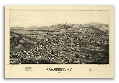 Cambridge New York 1886 Historic Panoramic Town Map - 16x24