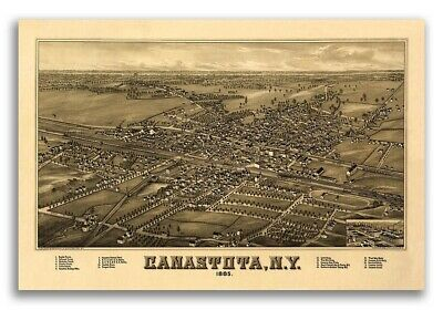Canastota New York 1885 Historic Panoramic Town Map - 16x24