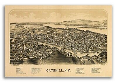 Catskill New York 1889 Historic Panoramic Town Map - 16x24