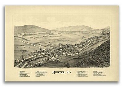 Hunter New York 1890 Historic Panoramic Town Map - 16x24