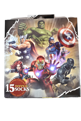 New 2019 Edition Men's Marvel 15 Days of Socks in Gift Box, Size 6-12, 15 pairs