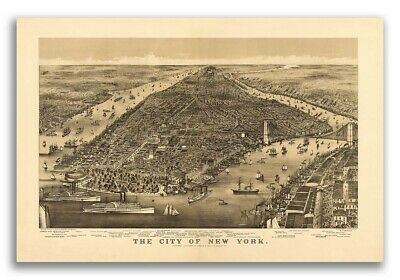 New York City, New York 1886 Historic Panoramic Town Map - 16x24