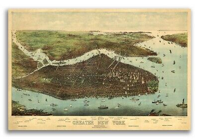 New York City, New York 1905 Historic Panoramic Town Map - 16x24