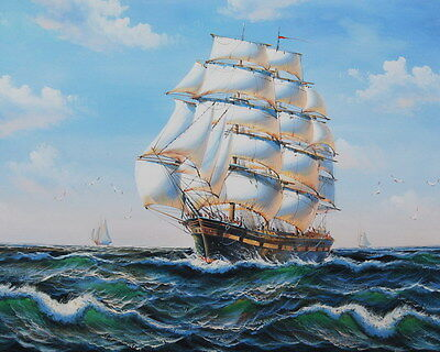 Canvas Print Oil painting seascapes Wind and waves sailboat on canvas L015