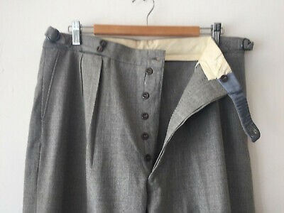 ORIGINAL VINTAGE DEADSTOCK 1930S MEN'S GREY PANTS BUTTON FLY W35 x 32