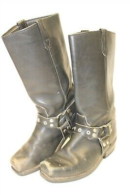 Double H Mens 8.5 EE Tall Black Leather Western Harness Motorcycle Biker Boots