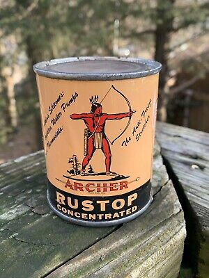Vintage 1950's Archer Rustop Concentrated 8 Oz Metal Can Gas Sign- Empty