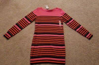 NEW GAP Kids Girls Pink/Red/Blue Striped Sweater Dress, Size 12