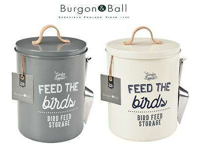 Burgon & Ball Bird Food Storage Tin Feed Scoop & Leather Handle Various Colours