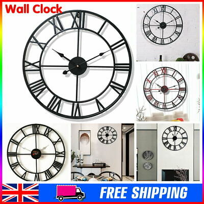 Large Skeleton Home Garden Wall Clock Roman Numeral Open Face Modern Metal Round