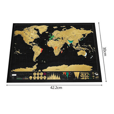 Scratch Off Map World Deluxe Personalized Travel Vacation Log Gift