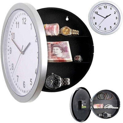 NEW Secret Wall Clock Home Safe Valuables Money Box Stash Cash Jewellery Gold R3