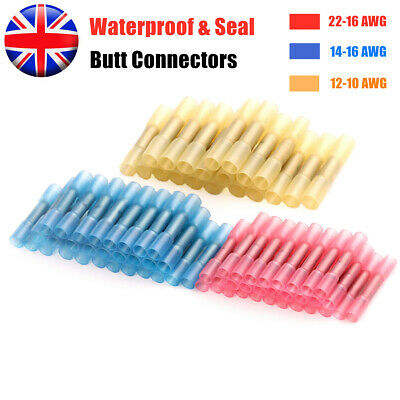 100/50 PCS Waterproof Heat Shrink Wire Cable Connectors Crimps Seal Butt Sleeve