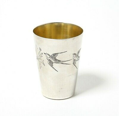 Silver vodka cup (shot cup) with the swallows. USSR.