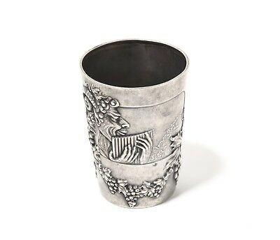 A small SILVER beaker (cup) with a Faun. Moscow, Mikhail Tarasov, 1908-1917