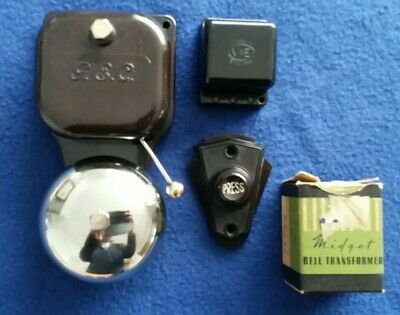 Vintage Gec Electric Bakelite Nickel Brass Door Bell Transformer Push Button