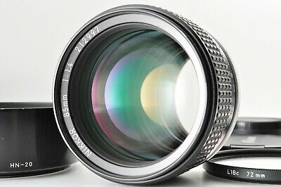 [NEAR MINT!!] Nikon 85mm F1.4 Ai-S Ais MF SLR with Hood, Filter, Caps From JAPAN