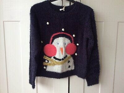 BNWT Girl's Next 10-11 Yrs Snowman  fluffy soft 3D woolly jumper