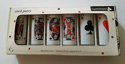 New, Luminarc Card Party Set of 6 Shooters Shot Glass 2oz Ace King Queen Jack